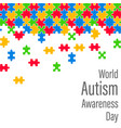 colorful jigsaw drop world autism awareness day vector image vector image