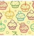 Colorful muffins seamless pattern background vector image