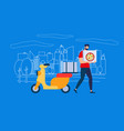 courier man character in red shirt carry pizza box vector image