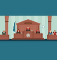 courtroom with panel of judges sitting behind desk vector image