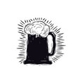 craft beer mug in linocut style vector image