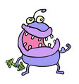 cute purple monster keeps a dumbbell vector image