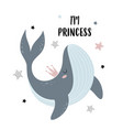 cute whale in crown isolated on white vector image vector image