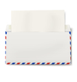 DL air mail envelope with white paper inside vector image vector image