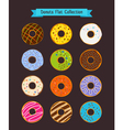 Donuts flat icons Donut and coffee shop elements vector image vector image