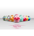 easter colorful eggs background with red ribbon vector image