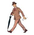 elegant retro gentleman with an umbrella vector image