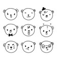 emoticon doodles set hand drawn bear heads vector image vector image