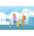 family walking in airport terminal for vacation vector image vector image