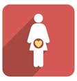 Fertility Flat Rounded Square Icon with Long vector image vector image