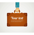 flat style hand holding briefcase vector image