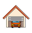 garage with car isolated icon vector image