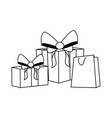 gift boxes and shopping bag flat design vector image vector image