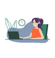 girl freelancer working at home office listening vector image vector image