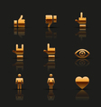 Golden social icons set vector image