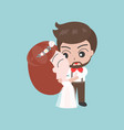 groom hugging bride cute character for use as vector image vector image