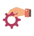 hand human with gear setting isolated icon vector image