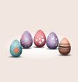 happy easter eggs pastel color with different vector image
