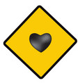 heart sing caution symbol vector image vector image