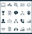 hr icons set with partnership curriculum vitae vector image vector image
