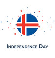 independence day of iceland patriotic banner vector image