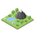 Isometric mountain lake in the woods vector image