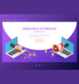 isometric web banner businessman hand out from vector image