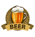 logo beer in a mug and a ribbon vector image