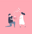 man kneeling down and give a gift box to woman vector image