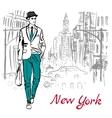 man walking on street vector image vector image