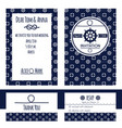 nautical wedding invitation and rsvp card vector image