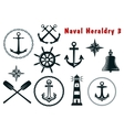 Naval heraldry icons set vector image vector image
