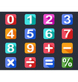 numbers and math long shadow icons set vector image vector image
