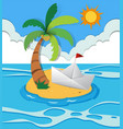 paper boat on island vector image vector image