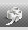pile scotch tape rolls realistic mockup vector image vector image
