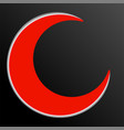 red islamic symbol on black background vector image vector image
