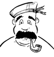 Sailor with tobacco pipe vector image vector image
