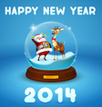 Santa Claus and Christmas deer inside ball vector image vector image