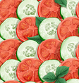 Seamless pattern of cucumbers and tomatoes vector image vector image