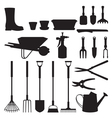 Set of silhouettes of objects garden tools vector image