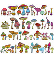 set of stylized mushrooms vector image vector image