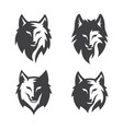 simple wolf head line art set vector image