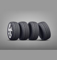 stack car tires and wheels photo realistic vector image