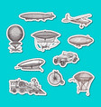 stickers set dirigibles bicycles and cars vector image vector image