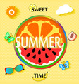 summer background with fruit slices butterfly vector image