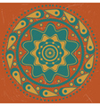 Turquoise ornament on orange background vector image vector image