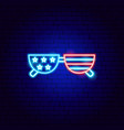 usa glasses neon sign vector image vector image