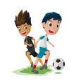 soccer player cartoon match opponent vector image