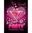 Valentine disco poster with hearts and cocktails vector image