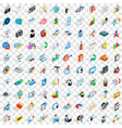 100 training icons set isometric 3d style vector image vector image